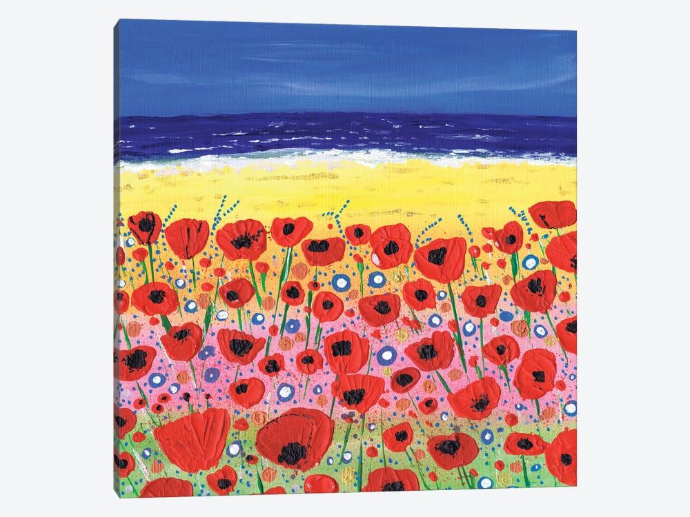 Poppies By The Beach by Caroline Duncan ART 1-piece Canvas Print