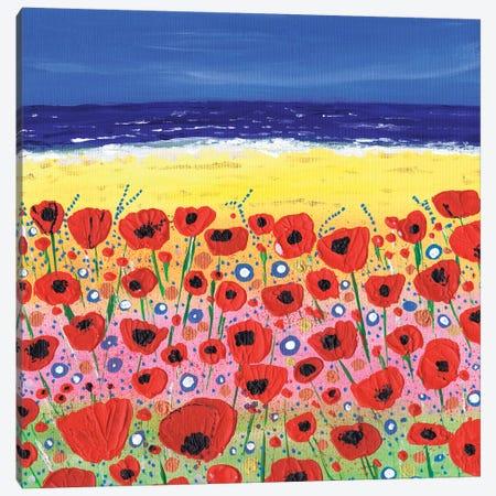 Poppies By The Beach Canvas Print #CDU32} by Caroline Duncan ART Canvas Wall Art