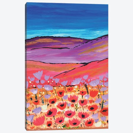 Poppy Fields Canvas Print #CDU33} by Caroline Duncan ART Canvas Wall Art