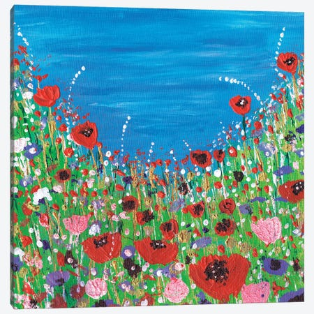 Roses And Poppies Canvas Print #CDU37} by Caroline Duncan ART Canvas Art Print