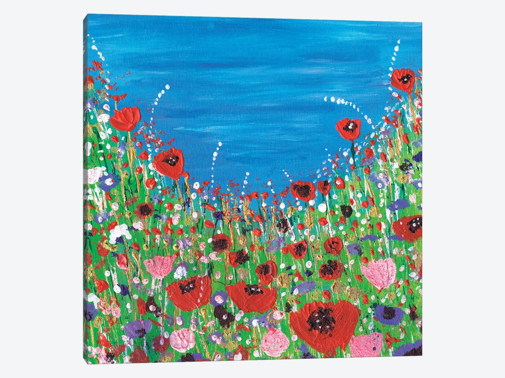 Roses And Poppies by Caroline Duncan ART 1-piece Canvas Art