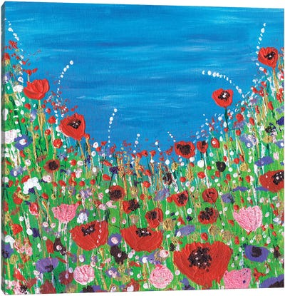 Roses And Poppies Canvas Art Print