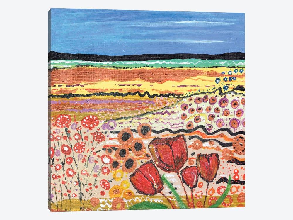 Tulips In A Field II by Caroline Duncan ART 1-piece Canvas Print