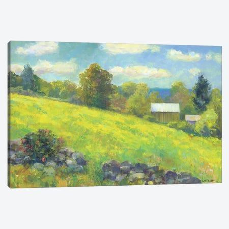 Rock Wall And Barn Canvas Print #CEI18} by Catherine M. Elliott Art Print