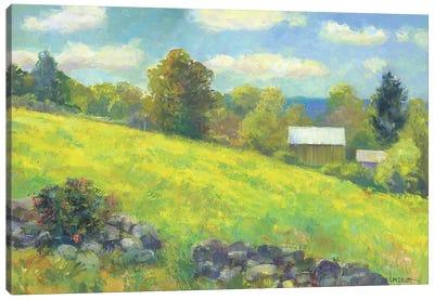 Rock Wall And Barn Canvas Art Print