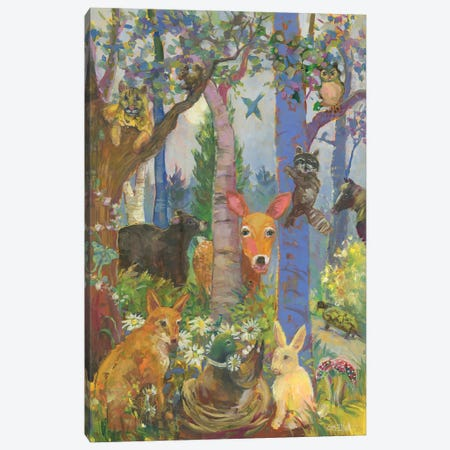Animals Of The Forest Canvas Print #CEI1} by Catherine M. Elliott Art Print