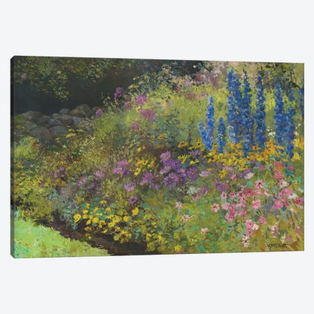 Stonewall With Perennial Canvas Print #CEI38} by Catherine M. Elliott Canvas Print