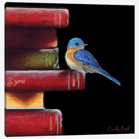 Got Book Worms?  Canvas Print #CEN30} by Camille Engel Canvas Wall Art