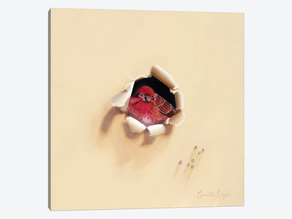 Bird En Rouge by Camille Engel 1-piece Canvas Wall Art
