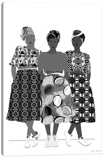 Girlz Band N&B Canvas Art Print