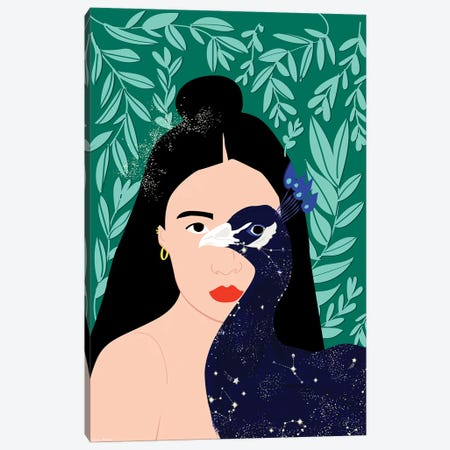 Peacock Canvas Print #CEW19} by Céleste Wallaert Art Print