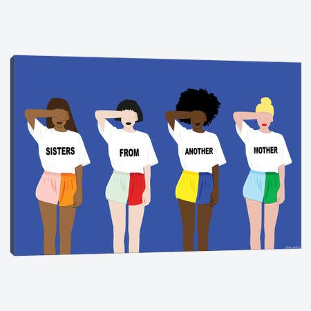 Sisters From Antoher Mother Blue Canvas Print #CEW22} by Céleste Wallaert Canvas Artwork