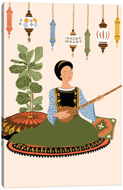 Tanbur Player Canvas Art Print