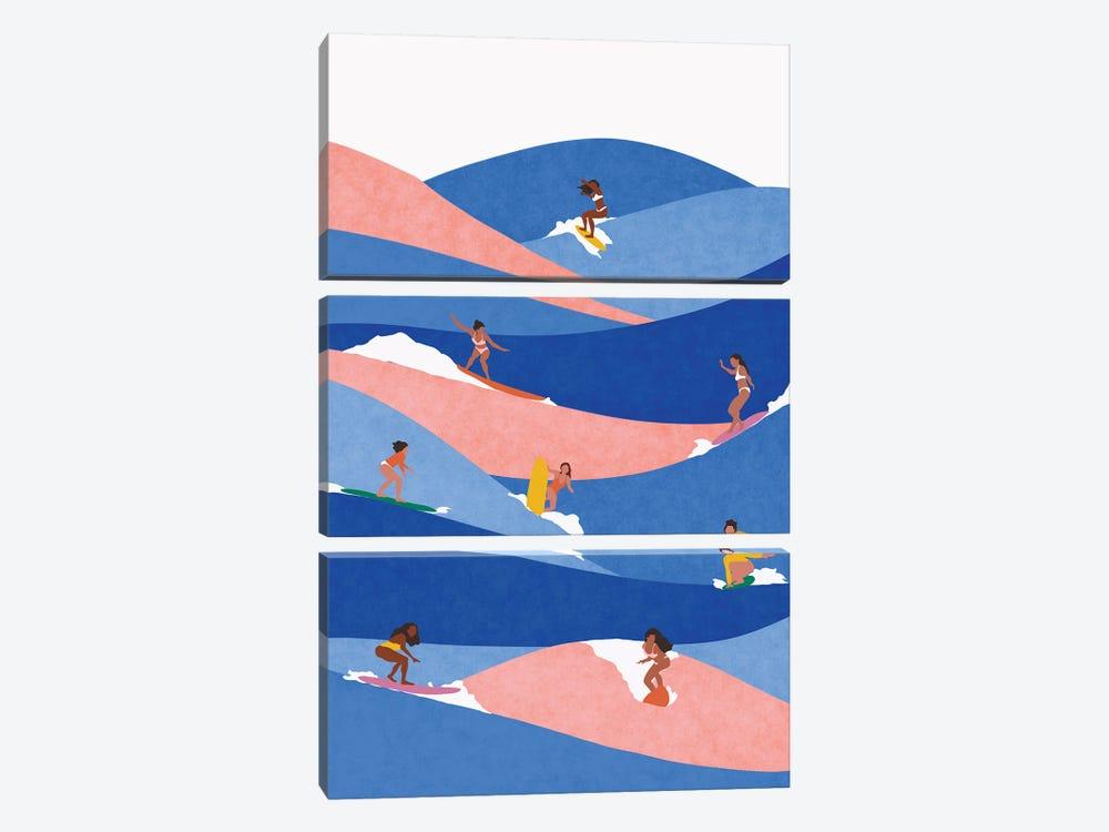Surf Like A Girl by Ceyda Alasar 3-piece Canvas Art