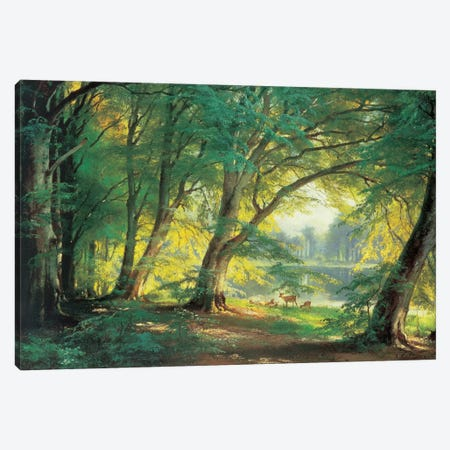 Deer In A Forest Canvas Print #CFA1} by Carl Frederic Aagaard Canvas Wall Art