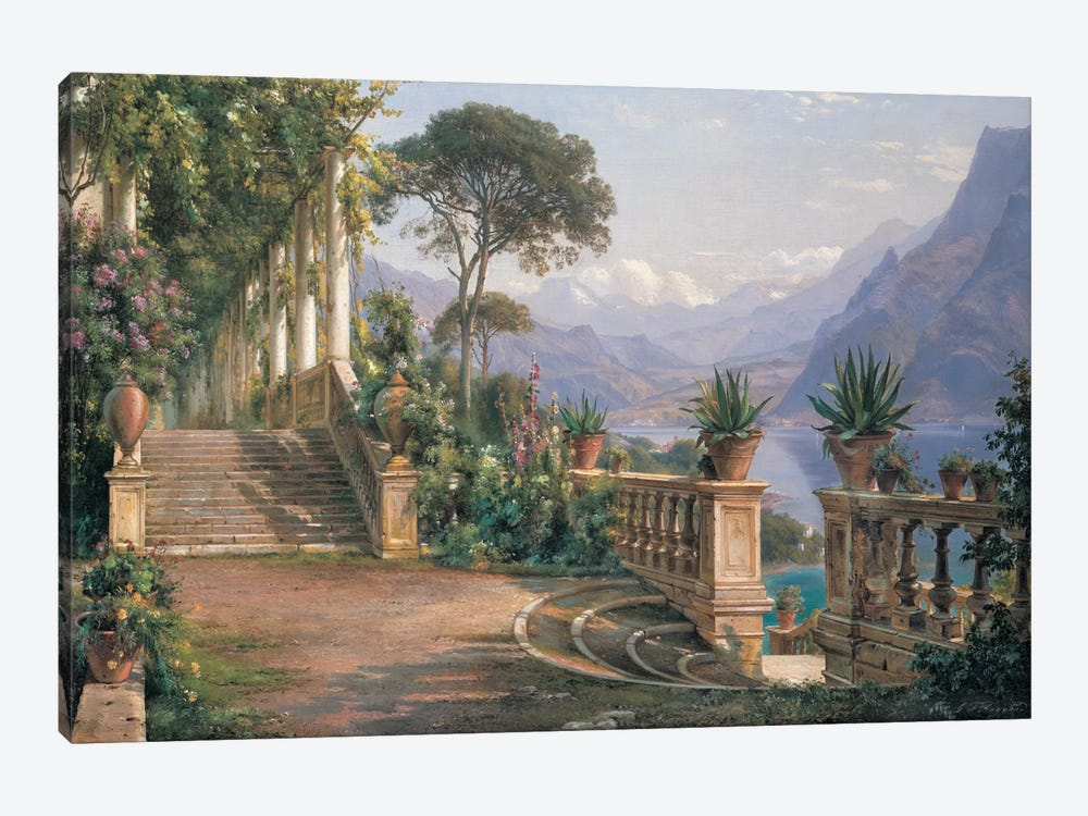 Lodge On Lake Como by Carl Frederic Aagaard 1-piece Canvas Wall Art