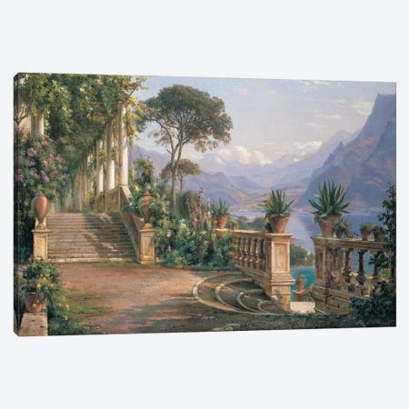 Lodge On Lake Como Canvas Print #CFA2} by Carl Frederick Aagaard Canvas Artwork