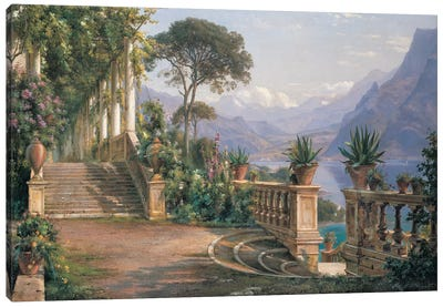 Lodge On Lake Como Canvas Art Print