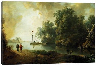 Landscape with River, circa 1780 Canvas Art Print