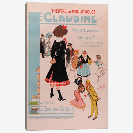 Theatre du Moulin Rouge, Claudine Operette En 3 Actes Advertisement, 1910 Canvas Print #CFR1} by Clérice Frères Canvas Wall Art