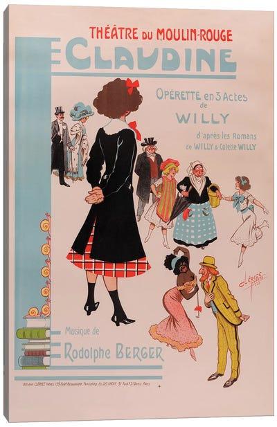Theatre du Moulin Rouge, Claudine Operette En 3 Actes Advertisement, 1910 Canvas Art Print