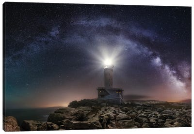 Lighthouse and Milky Way Canvas Art Print