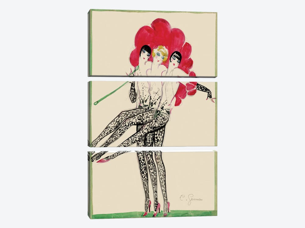 Moulin Rouge Triplettes Dancers Costume Sketch, 1920s by Charles Gesmar 3-piece Canvas Art