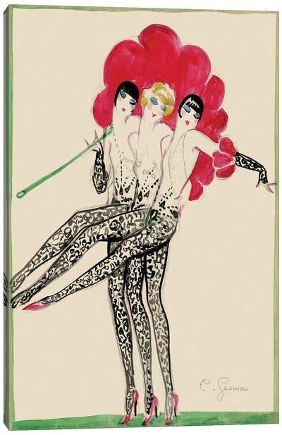 Moulin Rouge Triplettes Dancers Costume Sketch, 1920s Canvas Art Print