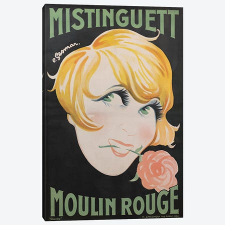 Moulin Rouge Mistinguett Advertisement, 1928 Canvas Print #CGE4} by Charles Gesmar Canvas Wall Art