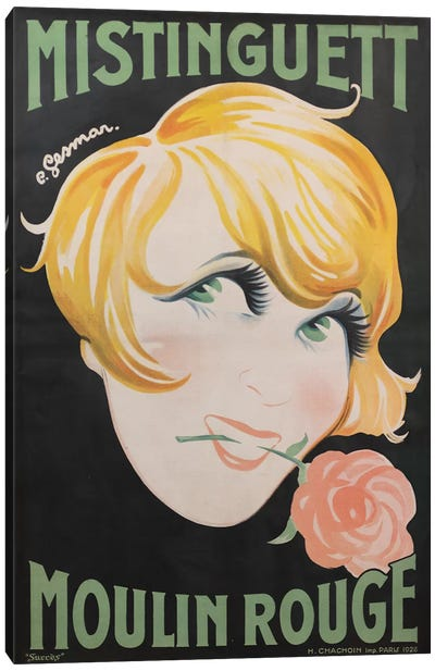 Moulin Rouge Mistinguett Advertisement, 1928 Canvas Art Print