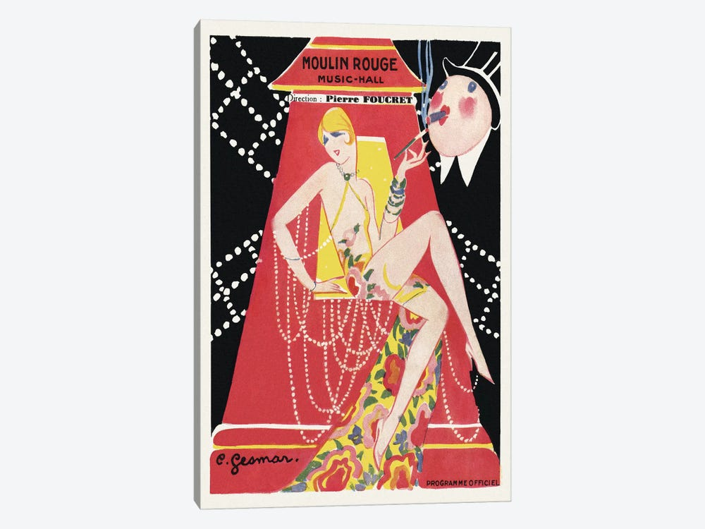 Moulin Rouge Ca C'est Paris! Programme, 1920s by Charles Gesmar 1-piece Canvas Art Print