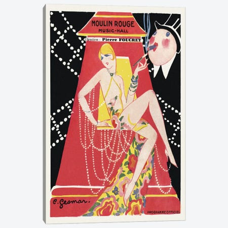 Moulin Rouge Ca C'est Paris! Programme, 1920s Canvas Print #CGE6} by Charles Gesmar Canvas Wall Art