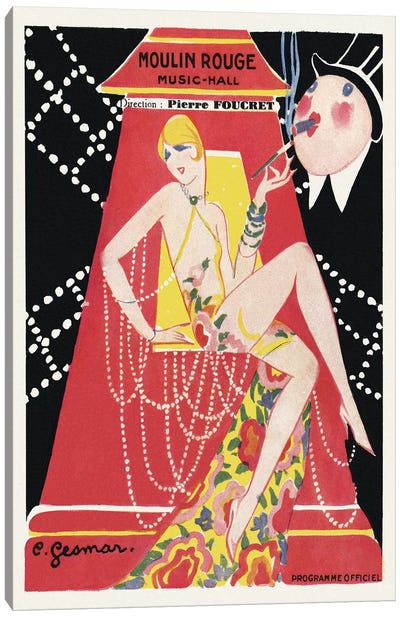 Moulin Rouge Ca C'est Paris! Programme, 1920s Canvas Art Print