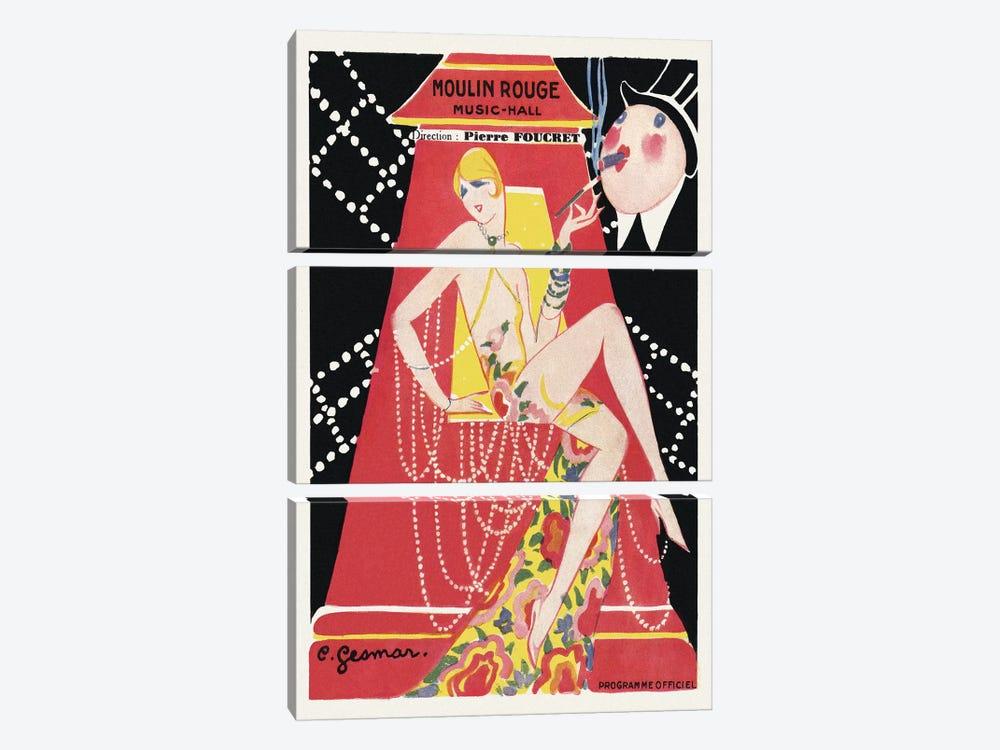 Moulin Rouge Ca C'est Paris! Programme, 1920s by Charles Gesmar 3-piece Canvas Print