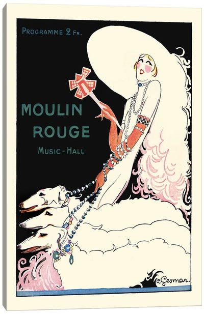Moulin Rouge Music-Hall Programme: Paris Qui Tourne, 1920s Canvas Art Print