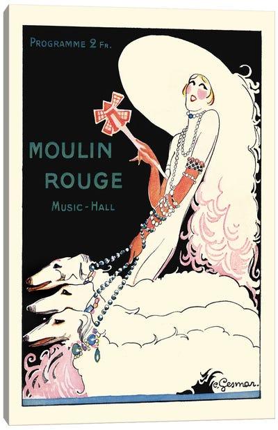 Moulin Rouge Music-Hall Programme: Paris Qui Tourne, 1920s Canvas Art Print