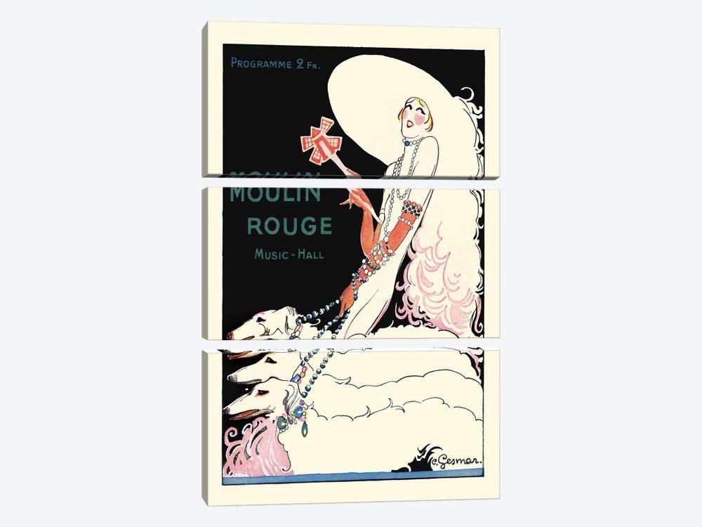 Moulin Rouge Music-Hall Programme: Paris Qui Tourne, 1920s by Charles Gesmar 3-piece Canvas Art