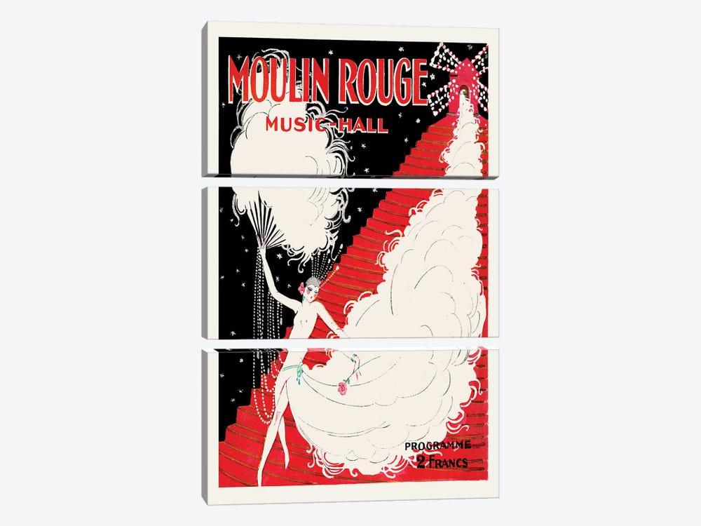 Moulin Rouge, Music-Hall Programme, 1920 by Charles Gesmar 3-piece Canvas Art Print
