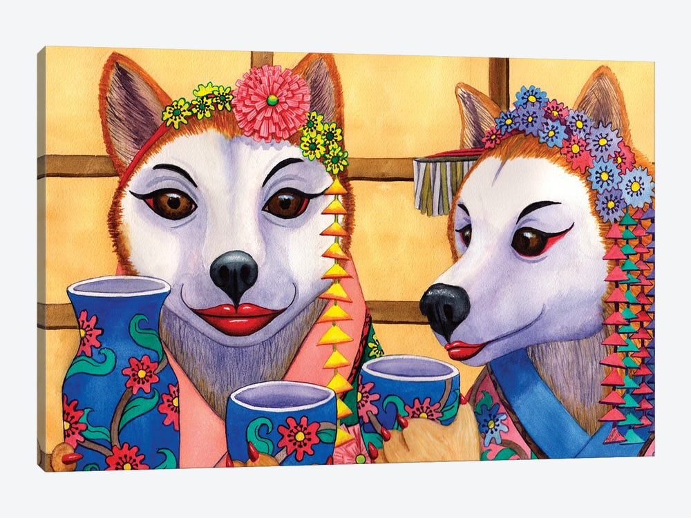 The Wining Saki Sippers by Catherine G McElroy 1-piece Canvas Artwork