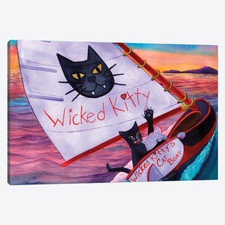 Wicked Kitty's Catboat Canvas Print #CGM130} by Catherine G McElroy Canvas Art