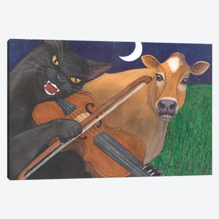Wicked Kitty's Got The Fiddle Canvas Print #CGM131} by Catherine G McElroy Canvas Art