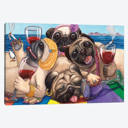 Wining Pile Of Pugs! Canvas Print #CGM135} by Catherine G McElroy Canvas Print