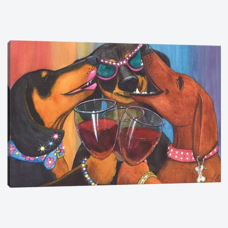 Wining Weiners Canvas Print #CGM138} by Catherine G McElroy Canvas Artwork