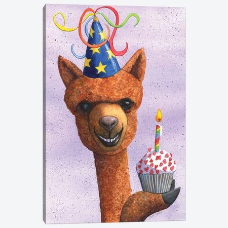Birthday Alpaca Canvas Print #CGM15} by Catherine G McElroy Canvas Art Print