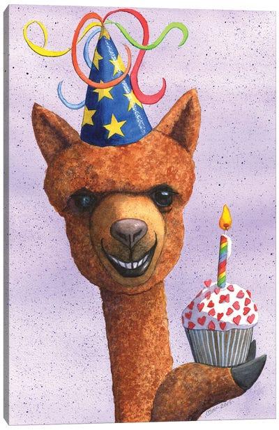 Birthday Alpaca Canvas Art Print
