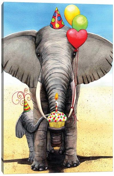 Birthday Elephant Canvas Art Print