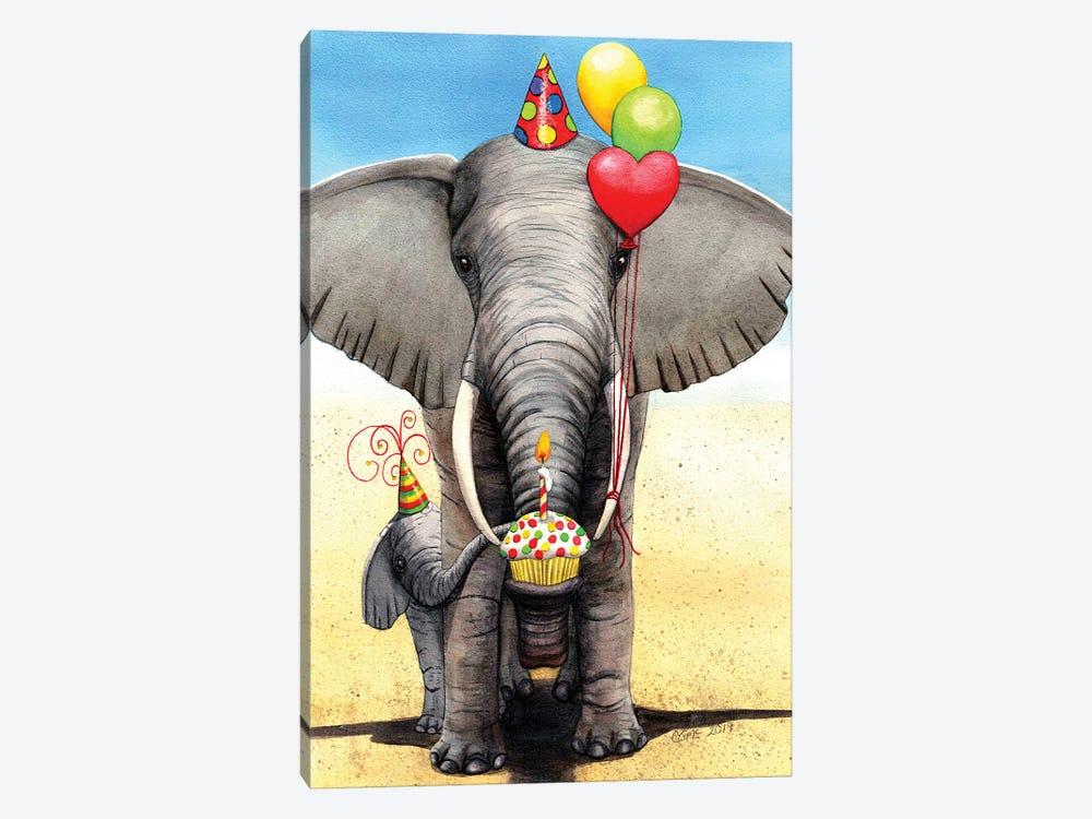Birthday Elephant by Catherine G McElroy 1-piece Canvas Print