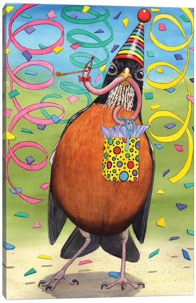 Birthday Robin Canvas Art Print