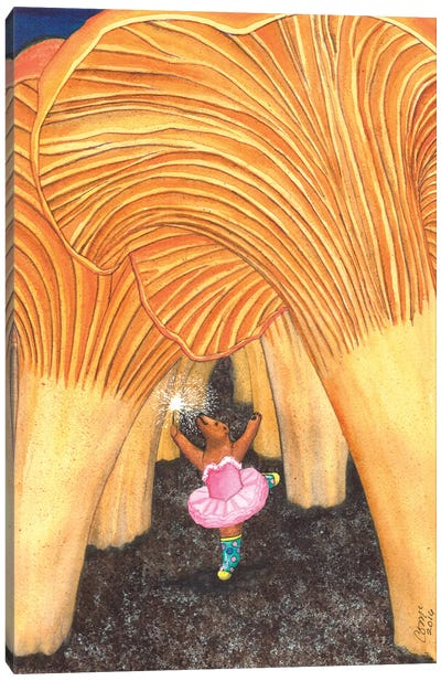 Girl Bear In Galoshes Canvas Art Print