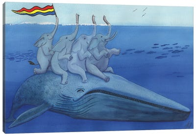 Having A Whale Of A Good Time. Canvas Art Print